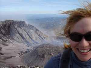 Looking into the Crater - Shannon's First Summit
