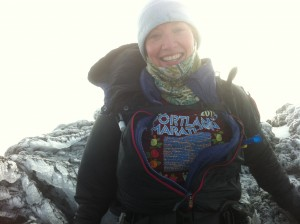 Shannon Wilkinson on the summit of South Sister