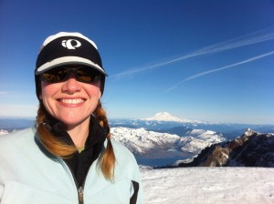 Shannon Wilkinson on the summit of Mt. St. Helens
