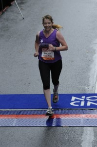 Shannon Wilkinson finishes her first marathon, the 40th Portland Marathon