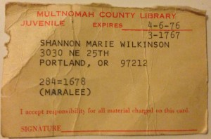 Shannon Wilkinson's original Library Card issued when she was five or six years old.