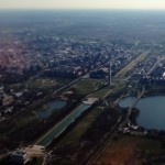 The National Mall, from the Lincoln Memorial to the Washington Monument and the Capitol Building from above.