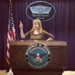 Shannon Wilkinson screwing around at the Pentagon before the tour, where no photo-taking is allowed.
