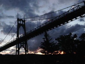 St Johns Bridge at Sunset, Portland, Oregon by Shannon Wilkinson