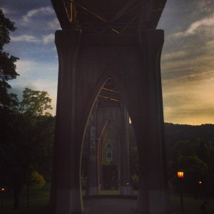 St. Johns Bridge, Cathedral Park in Portland, Oregon at Twilight