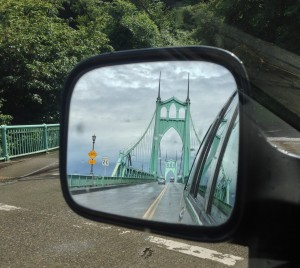 Looking back at the St. Johns Bridge in Portland, Oregon