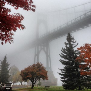 Foggy fall morning in Cathedral Park - St. Johns Bridge, Portland, Oregon
